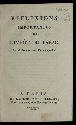 Cover of: Re flexions importantes sur l'impo t du tabac | Duvaucel M.
